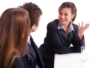 Businesswoman having healthy discussion